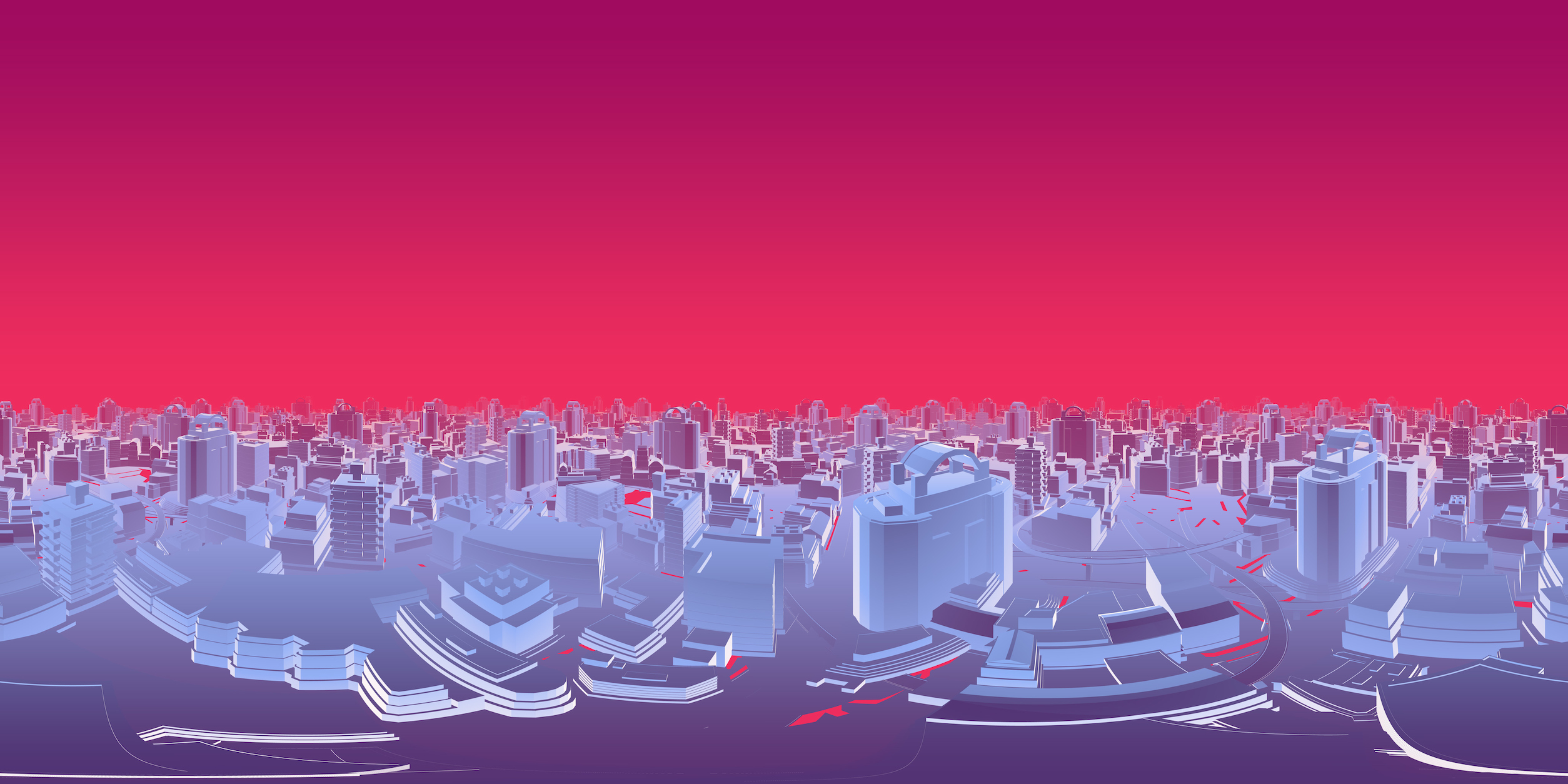 A synthetic blue cityscape with a red skyline