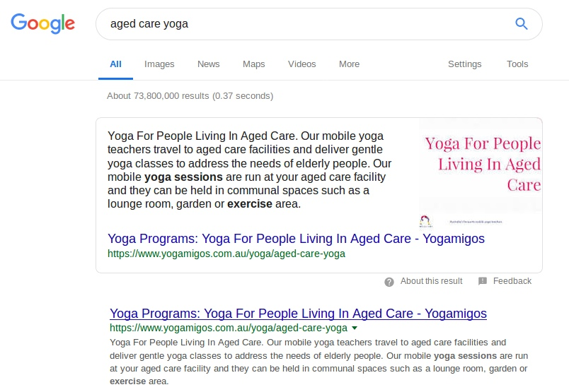 Google search result for