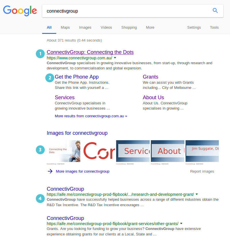 Screenshot of Google listing for ConnectivGroup