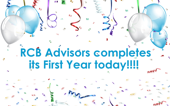 RCB Advisors completes its First Year today!!!