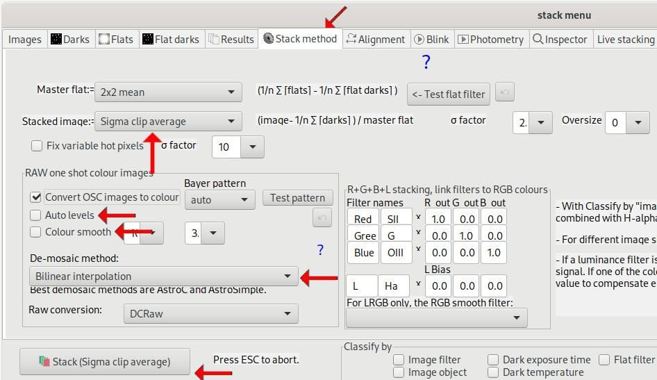 A screenshot of the ASTAP Stack Method tab