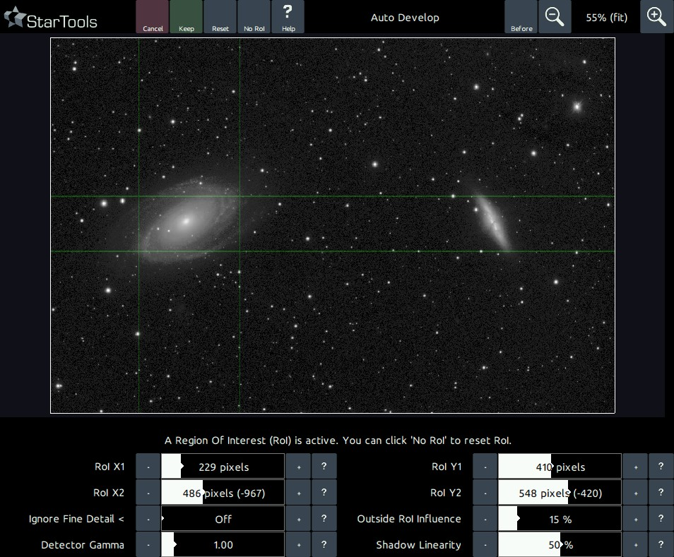 M81 and M82 galaxy pair with Region of Interest selected for M81