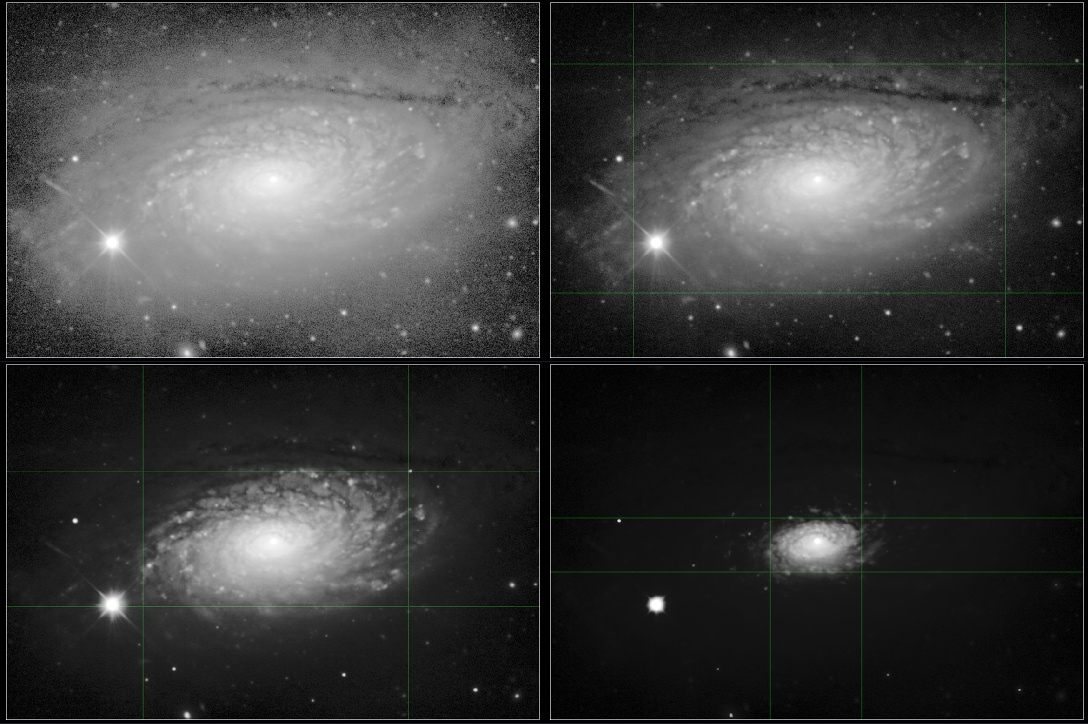 A 4 panel image of a galaxy at 4 stages of stertching by AutoDev.