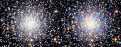 2 images of a globular cluster side-by-side