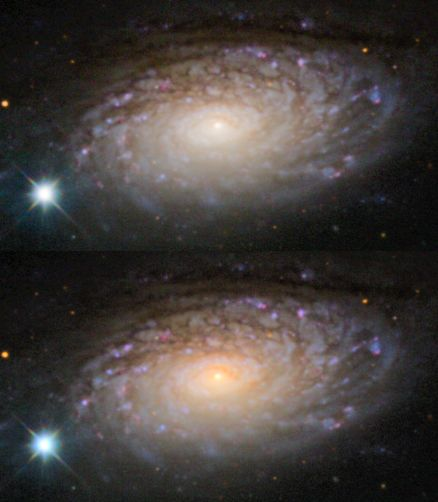 Two images of M63 Sunflower Galaxy