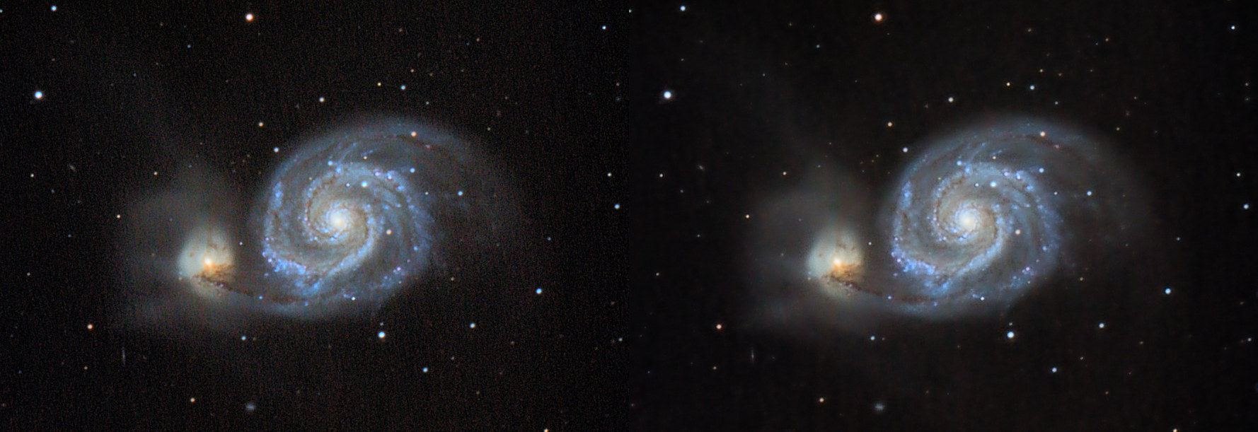 A 2-panle side-by-side of an image with walking noise (streaks) and a denoised image.