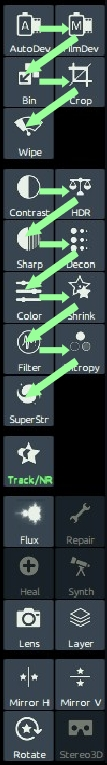 The icons in the top two panels roughly follow a recommended workflow.
