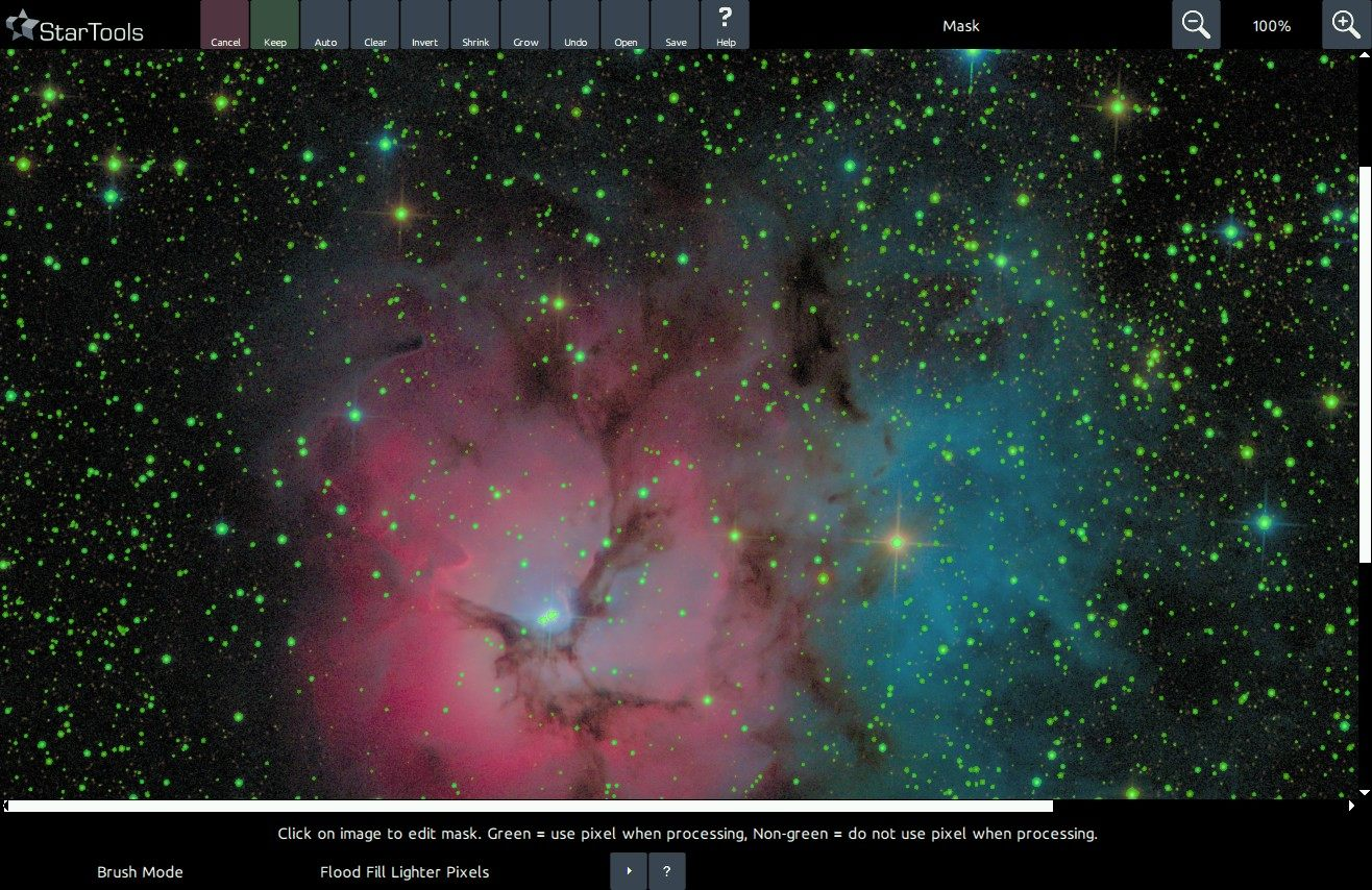 An image of M20 with all stars selected in a mask.