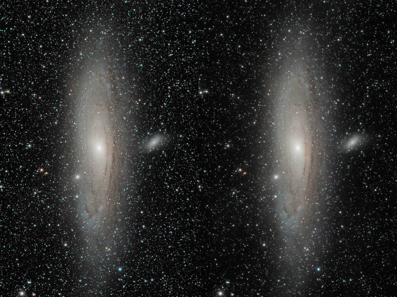 A 2-panel side-by side of M31 processed by the Super Structure module.