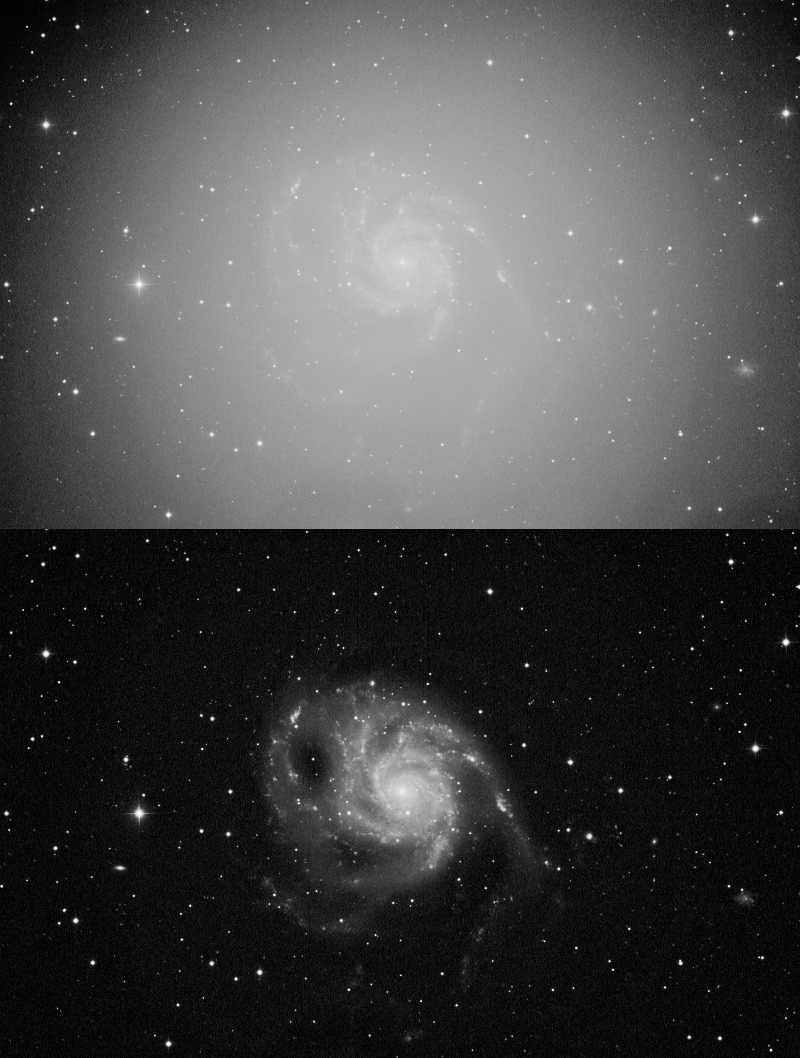 A 2-panel top/bottom before and after example of M101 mired in heavy gradients and vignetting.